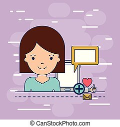 corpo, decorativo, donna, colorito, tavoletta, icone, multimedia, domanda, tecnologia, fondo, mezzo, congegno
