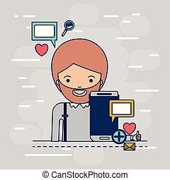 corpo, decorativo, smartphone, colorito, icone, multimedia, domanda, tecnologia, fondo, mezzo, congegno, uomo