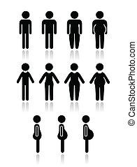 corpo, donne, uomo, tipo, icone