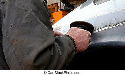 corpo, lavorativo, auto, meccanico garage, automobile