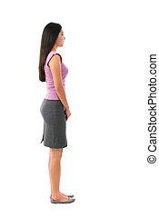 corpo, pieno, femmina asiatica, vista laterale