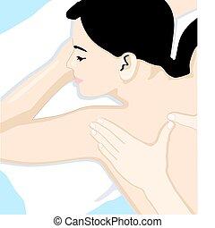 corpo, pieno, massaggio