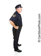 corpo, polizia, profilo, pieno, ufficiale