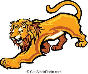 corpo, vettore, mascotte, grafico, leone