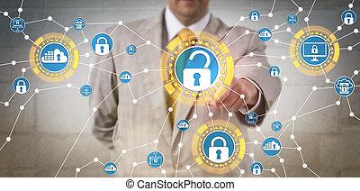 corporativo, regolazioni, direttore, riunione, sicurezza, dati