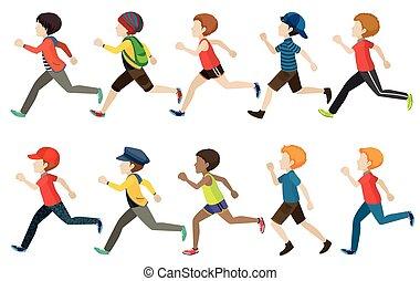 correndo, bambini, gruppo