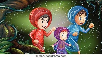 correndo, bambini, tre, pioggia