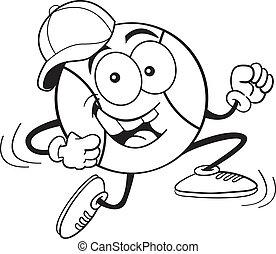 correndo, baseball, cartone animato
