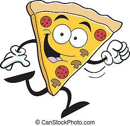 correndo, cartone animato, pizza