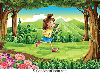 correndo, foresta, ragazza
