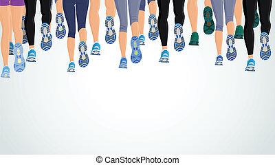 correndo, gambe, gruppo, persone
