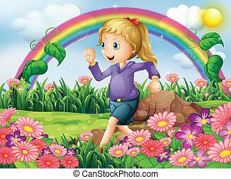 correndo, giardino, ragazza
