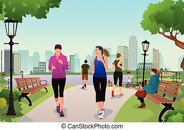 correndo, parco, donne