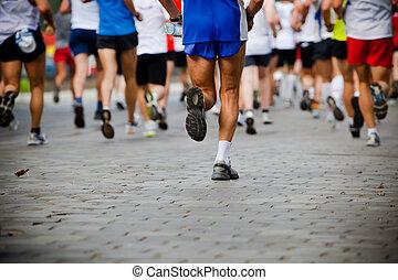 correndo, persone, città, maratona