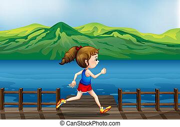 correndo, porto, ragazza
