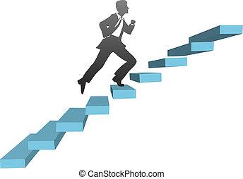 correndo, scale, arrampicarsi, uomo affari