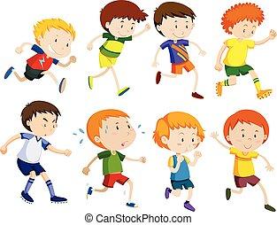 correndo, set, bambini