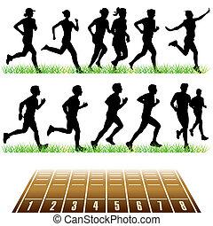correndo, set, persone