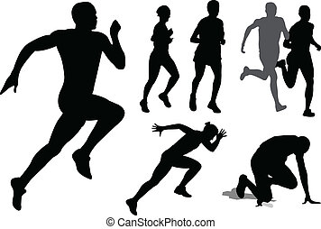 correndo, silhouette, persone
