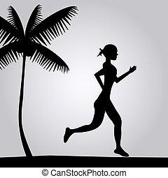 correndo, spiaggia, ragazza, illustrazione