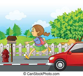 correndo, strada, ragazza