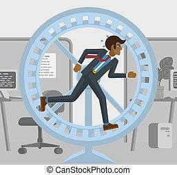 correndo, uomo, accentato, ruota, criceto, affari, stanco