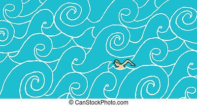 corrente, contro, nuoto