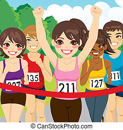 corridore, atleta, femmina, vincente