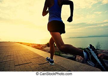 corridore, atleta, seaside., correndo