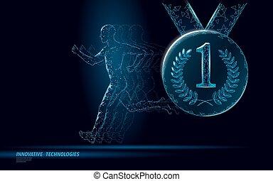 corridore, concorrenza, nastro, silhouette, adattare, concorso, concept., vincitore, basso, uomo, condottiero, corsa, illustrazione, poly, medaglia, marathon., premio, jogging, vettore, posto, idoneità, onore, sportivo, primo