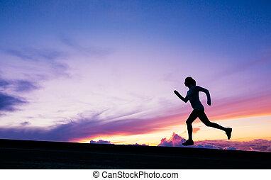 corridore, correndo, tramonto, silhouette, femmina