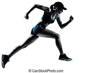 corridore, pareggiatore, correndo, donna