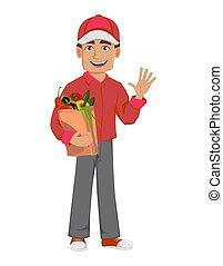 corriere, consegna, rosso, uomo, uniform., bello