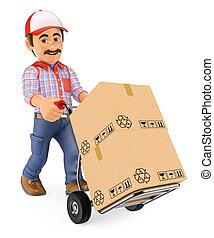 corriere, spinta, mano, consegna, scatole, camion, uomo, 3d