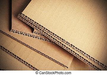corrugato, cartone, fondo, dettaglio, cartone