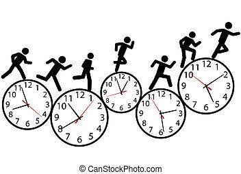 corsa, corsa, persone, simbolo, clocks, tempo