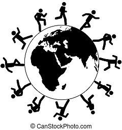 corsa, intorno, persone, simbolo, globale, internazionale, mondo