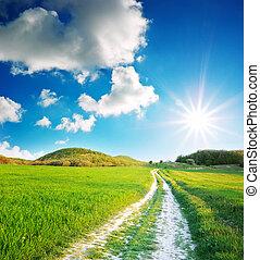 corsia, profondo, blu, strada, cielo