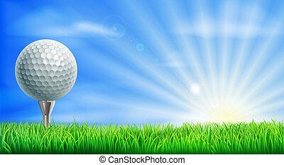 corso, palla, tee golf