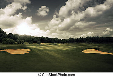 corso, sera, golf