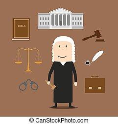 corte, icone, giustizia, giudice