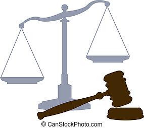 corte, scale, sistema giustizia, legale, simboli, martelletto