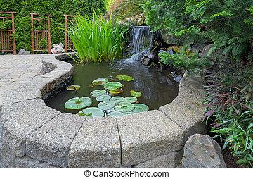 cortile posteriore, cascata, giardino, stagno