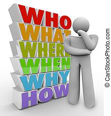 cosa, chiede, persona, quando, come, pensatore, domande, dove, perché