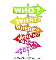 cosa, domande, quando, -, come, freccia, segni, dove, perché