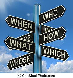 cosa, signpost, quando, ricerca, brainstorming, confusione, dove, perché, mostra