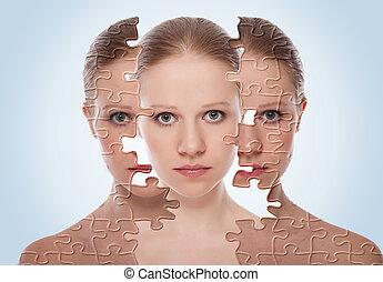 cosmetico, pelle, prima, care., faccia, effetti, trattamento, donna, secondo, procedura, concetto, giovane