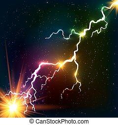 cosmico, arcobaleno, plasma, lucente, colori, lampo