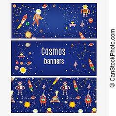 cosmo, set, bandiere, illustrazione, bambini