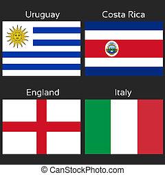 costa, italia, d, football, -, inghilterra, gruppo, vettore, bandiere, brasile, rica, uruguay